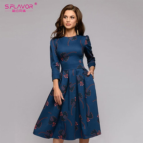 Winter Fashion - Midi O-Neck Slim Casual Dress