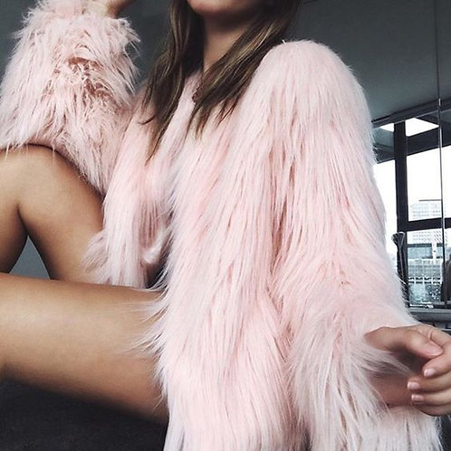 Outerwear Fur Fluffy Warm Long Sleeve Collarless Overcoat