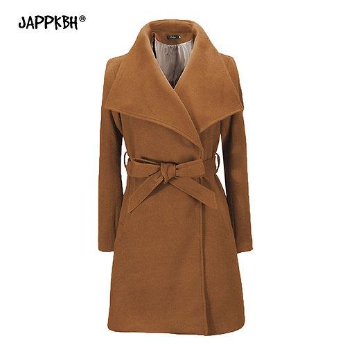 Elegant Casual Vintage Belt Autumn Winter Fashion Coat
