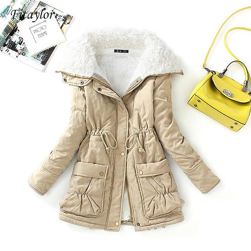 Medium-Long Wadded Thick Cotton Padded Warm Parkas