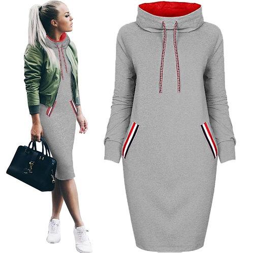 Long Sleeve Turtleneck Drawstring Sweatshirt Dress