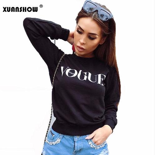 VOGUE Printed Pullover Fleece Sweatshirt