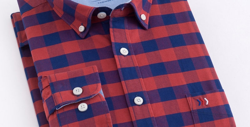 Men's Casual Plaid Checkered Oxford Standard-Fit Cotton Shirt