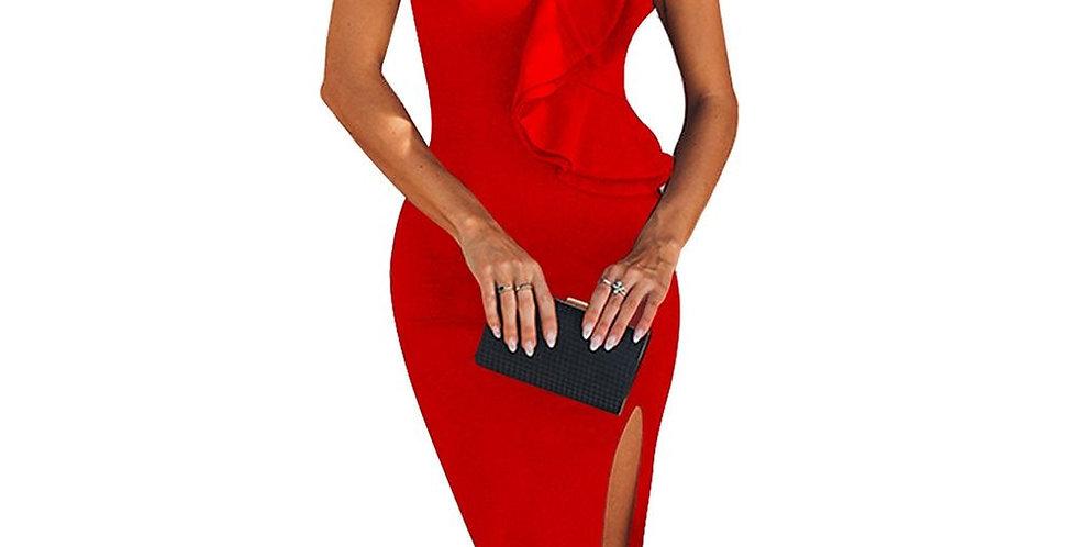 One Shoulder Elegant Bandage Ruffles Dress
