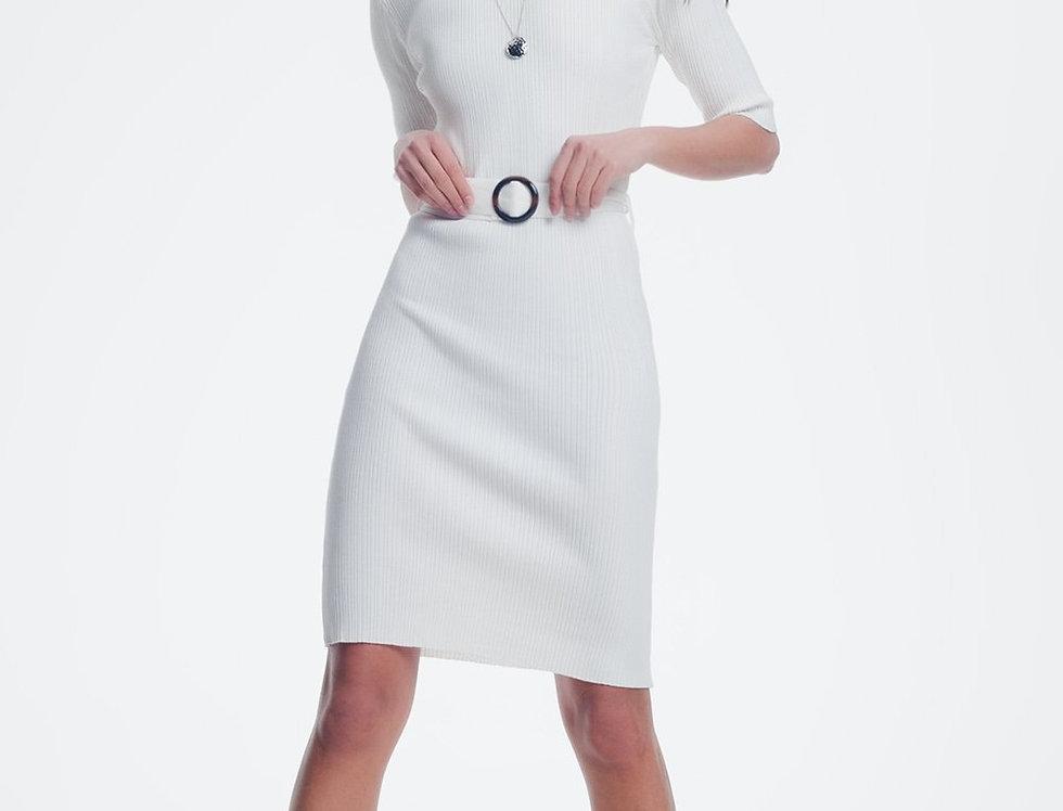 Cream Dress With Waistband