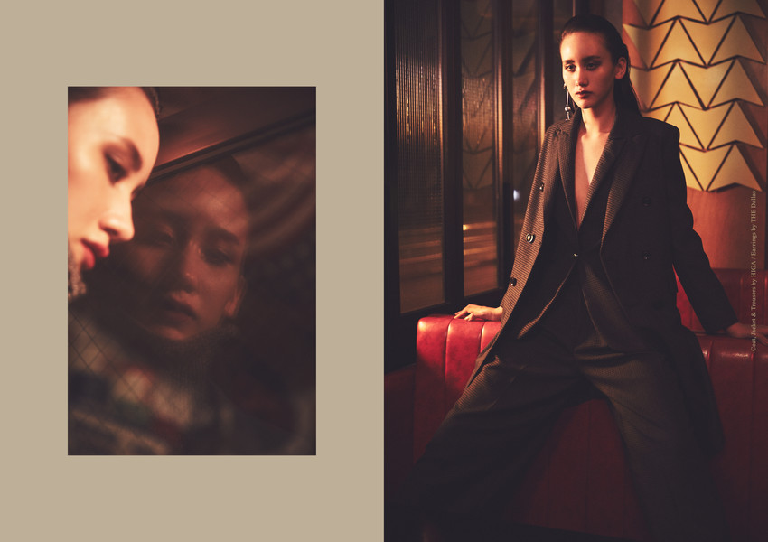 Right page: Coat, Jacket & Trousers_HIGA Earrings_THE Dallas
