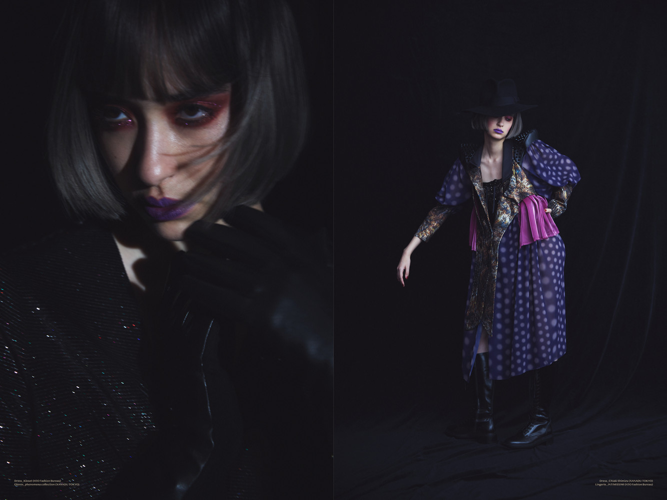Left page: Dress_Kloset (H3O Fashion Bureau) Gloves_phenomena collection (XANADU TOKYO)  Right page: Dress_Chiaki Shimizu (XANADU TOKYO) Lingerie_INTIMISSIMI (H3O Fashion Bureau)