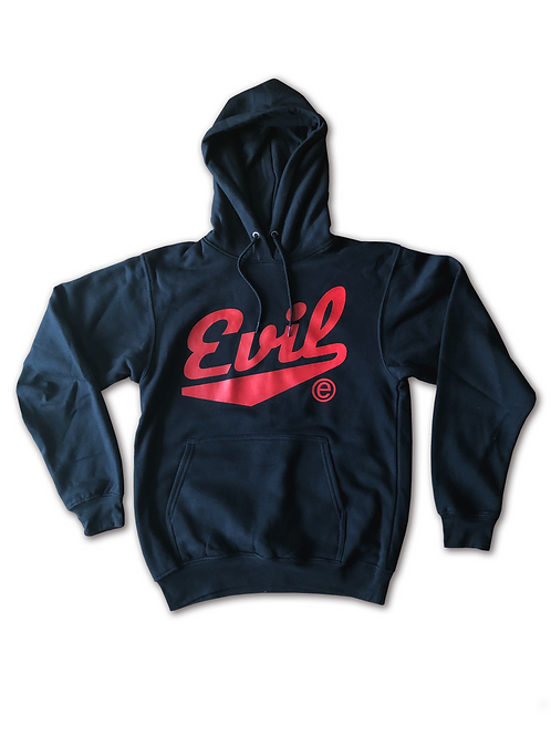 All Black Hoodie - Red Evil E
