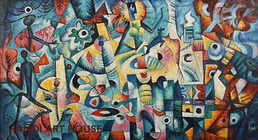 THANK GOD abstract cubism oil on canvas painting by Vietnamese artist Hong Son