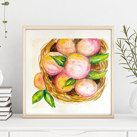 Peaches, Original Watercolor Painting