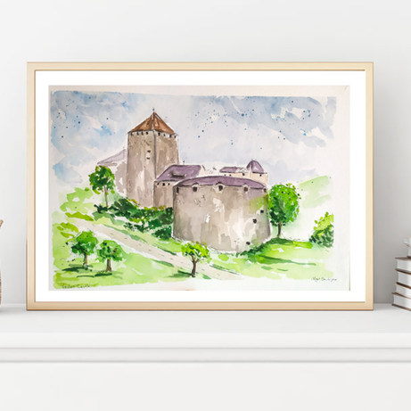 Vaduz Castle, Liechtenstein, Watercolor