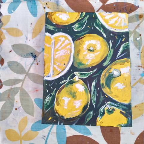Lemons, Oil painting