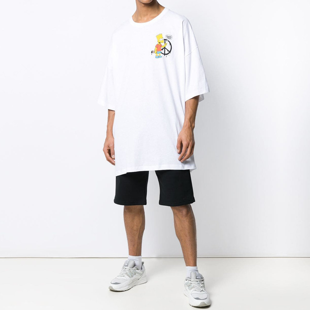 4ef7ce16296 Oversized Bart Simpsons Peace Tee | Off White | Cool Bu Crew