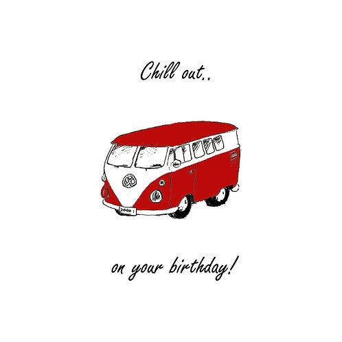 red vw camper van -chill out