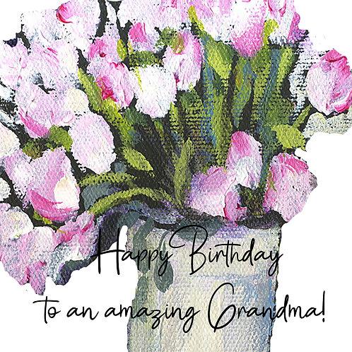 Grandma Birthday - Pink Tulips