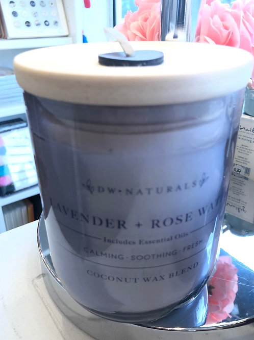 DW Naturals Lavender & Rosewater coconut wax candle