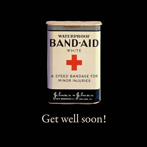 get well- bandaid tin