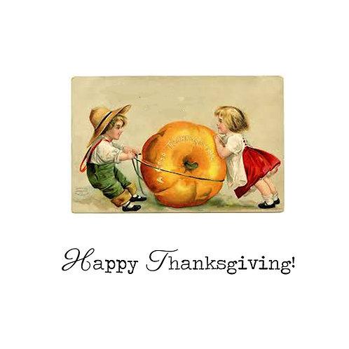 Thanksgiving - vintage kids and pumpkin