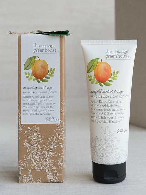 Cottage Greenhouse - Sungold Apricot and sage lotion