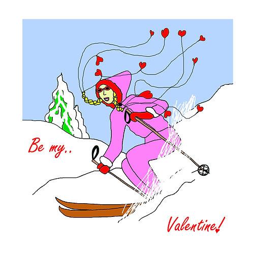 Valentines - vintage ski gal