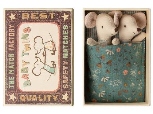 Baby mice twins in box - teal flowery blanket
