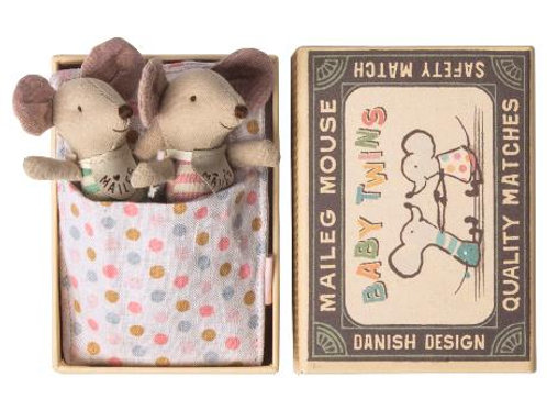 Baby twin mice in box - newborns with bibs
