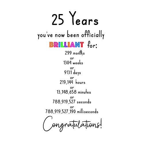 Brilliant 25th