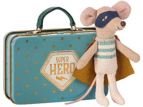 Superhero mouse in suitcase (little brother size mouse)