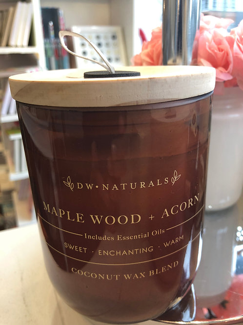 DW Home maple wood & acorn coconut wax candle