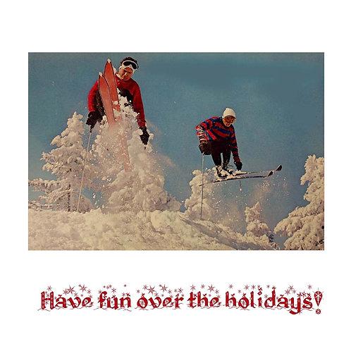 Retro ski jump guys (on white)