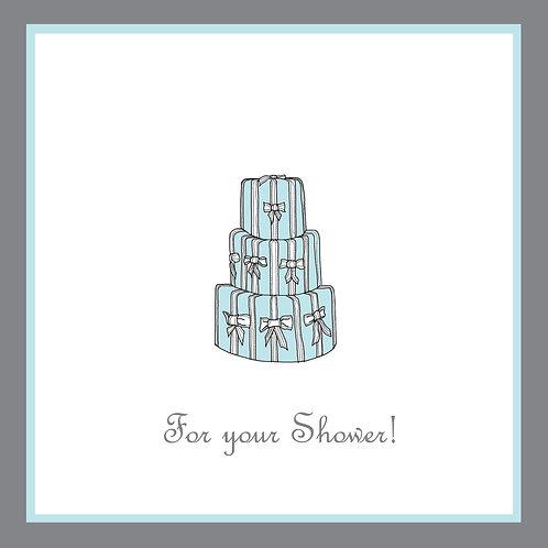 wedding shower - blue bow cake