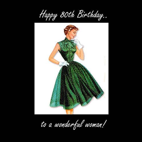 80th vintage wonderful woman in green
