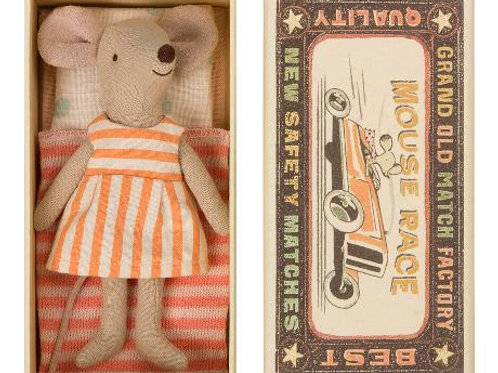 Big Sister mouse in box (striped dress)