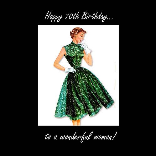 70th vintage wonderful woman in green