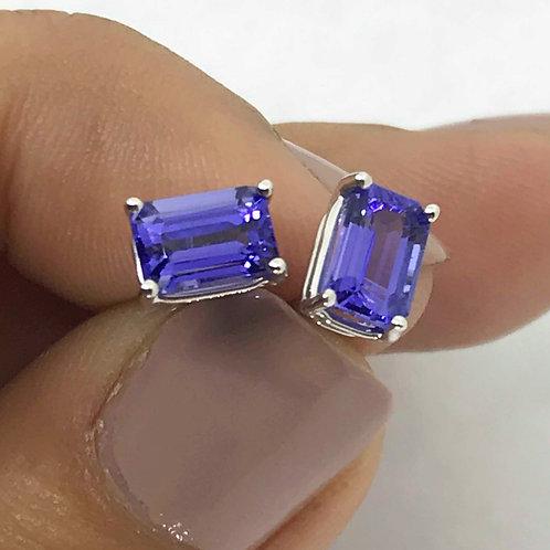 Tanzanite Earrings - Blue-Purple Color - Emerald shape- set in 14k White Gold