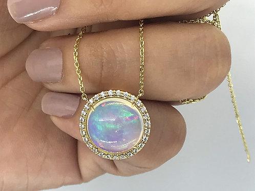 "Ethiopian Opal Necklace - 14k YG w/ Diamond accent stones w/ 18"" Gold Chain"