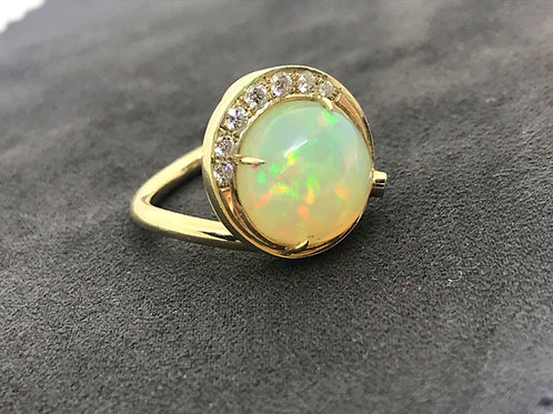 Ethiopian Opal Ring - 14k Yellow Gold w/ Diamond accent stones