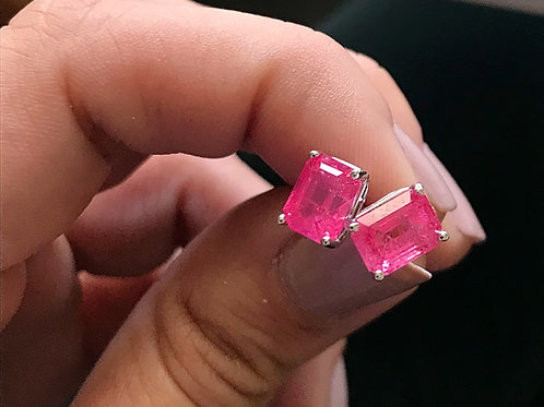 Spinel Earrings - Neon Pink Color - Emerald cut- set in 14k White Gold