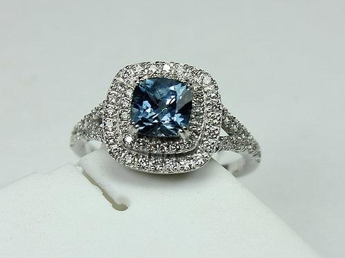 Montana Sapphire Ring - 14k White Gold w/ Diamond accent stones