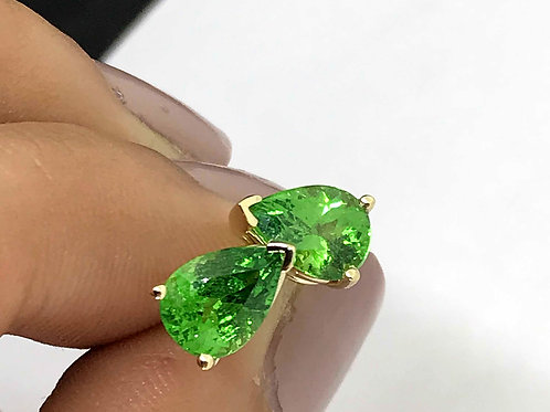 Tsavorite Garnet Earrings - Green Color - Pear shape- set in 14k Yellow Gold