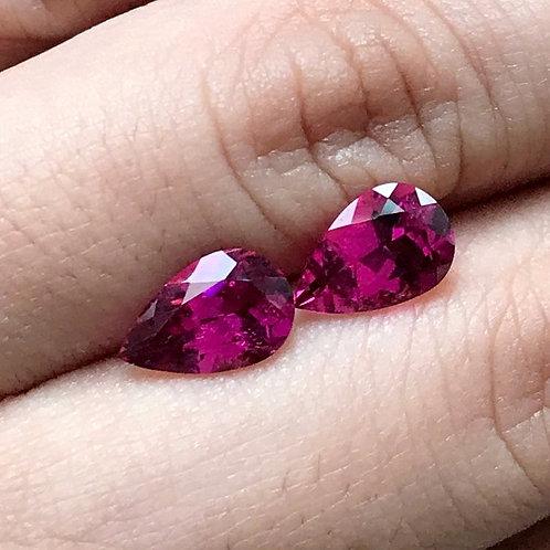 2.58 TCW - Rubellite Tourmaline Loose Natural Gemstones - Pear Pair