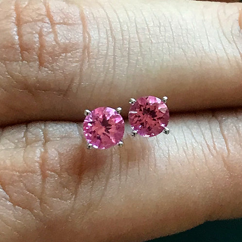 Spinel Earrings - Pink color- Round shape - set in 14k WG