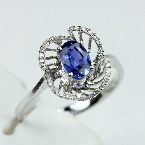Sapphire Ring - 18k White Gold w/ Diamond accent stones