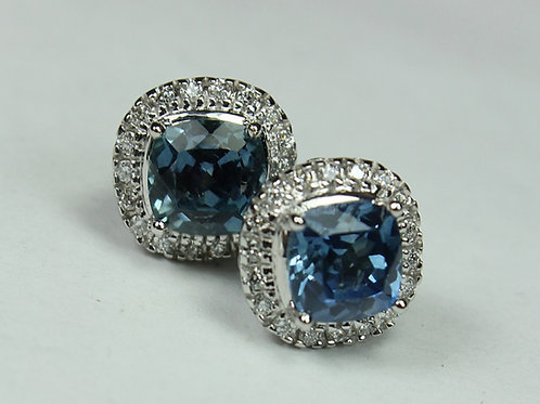 Montana Sapphire Earrings - 14k White Gold w/ Diamond accent stones