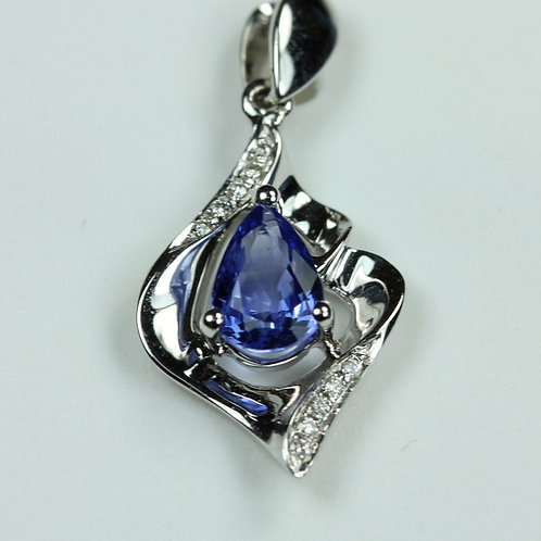Sapphire Pendant - 18k White Gold w/ Diamond accent stones
