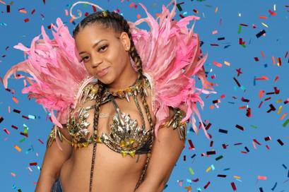 Pink confetti and Carnival costume