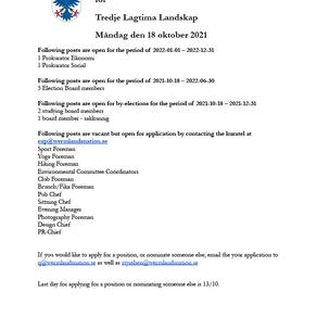 Announcement of open positions for Tredje Lagtima Landskap