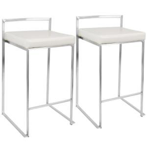 White Leather Silver Stool