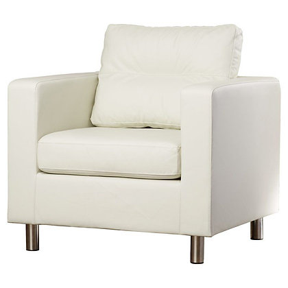Clarence White Leather Armchair