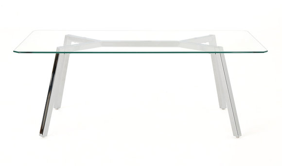 Polished Chrome Coffee Table with Glass Top
